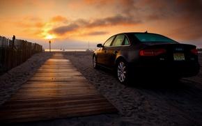 Picture sand, machine, beach, dawn, Audi, audi a4