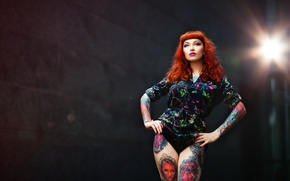 Picture look, girl, face, hair, figure, legs, tattoo