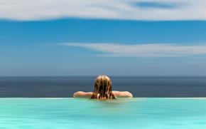 Picture water, horizon, girl, line