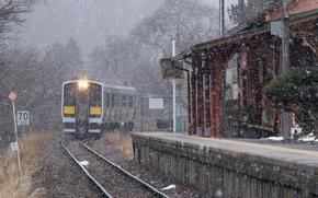 Wallpaper snow, Keith, The Azuma, Prefecture Fakusima, Japan, train