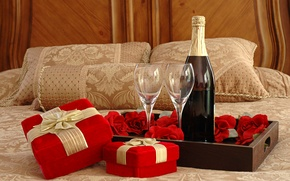 Wallpaper gifts, Bed, roses, glasses, wine, champagne, tray
