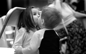 Picture children, background, black and white, Wallpaper, mood, girl, boy. kiss