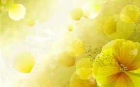 Picture flowers, paint, vector, petals, postcard
