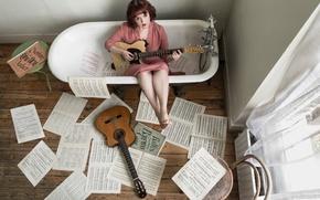 Picture girl, music, guitar, bath