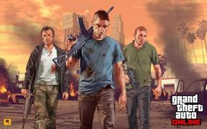 Picture the city, soldiers, art, Grand Theft Auto 5, gta online, Team survivor, AK 47