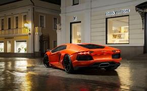 Picture Auto, Night, Lamborghini, Orange, Supercar, Lamborghini, LP700-4, Aventador, Puddles