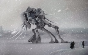 Picture winter, robot, worlds, snowfall