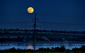 Picture night, the moon, Landscape