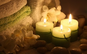 Wallpaper flowers, flowers, candles, Spa, candles, towel, Spa stones, Spa stones, towel, Spa