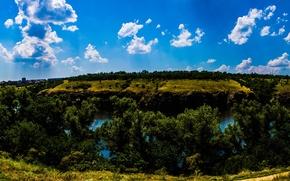 Picture leaves, trees, river, rocks, island, Dnepr, Zaporizhia, Khortytsya