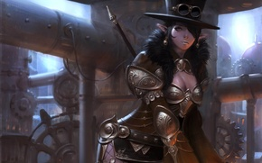 Picture girl, metal, pipe, elf, hat, art, glasses, steampunk, armor, steampunk, choi keun hoon