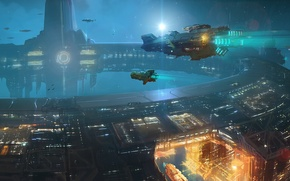 Picture space, star, ships, station, art