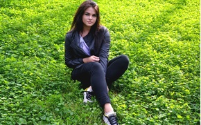 Picture grass, girl, earth, brunette, beautiful, sneakers, dark, Valery Denisyuk