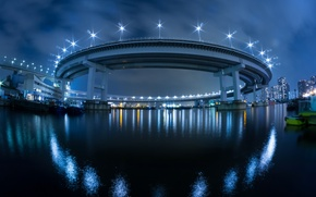 Picture night, bridge, the city, lights, Japan