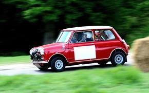 Wallpaper Blur, Retro, Mini Cooper, MINI, Red, Mini Cooper, Race