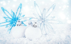 Picture white, balls, decoration, holiday, blue, Shine, new year, silver, Christmas decorations, Wallpaper from lolita777