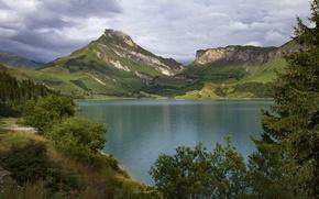 Picture mountains, lake, France, Alps, France, Alps, Savoie, lake Roselend, Roselend Lake, Savoie