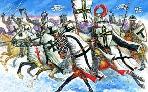 Picture winter, field, snow, attack, cats, figure, stockings, art, swords, battle axe, shields, spears, hats, cloaks, …