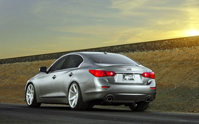 Picture Infiniti, sedan, vossen wheels, rearside, Q50S