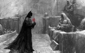 Picture snow, flowers, figure, Batman, cemetery, cloak