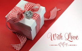 Picture gift, heart, tape, love, bow, heart, romantic, Valentine's Day