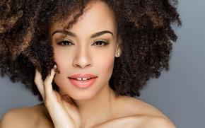 Picture girl, portrait, makeup, mulatto, black hair, African beauty