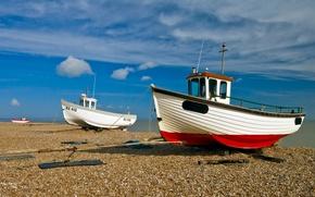Wallpaper boats, pebbles, Shore, clouds