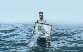 Wallpaper people, ship, picture, sea