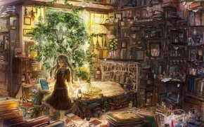 Wallpaper lamp, books, plants, girl, grass, potions, extracts, zermezeele, So much gallimaufry, recipes