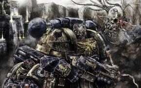 Picture warhammer 40k, bolter, space marines, ultramarines, flying skull, imperium, grenade, heavy bolter