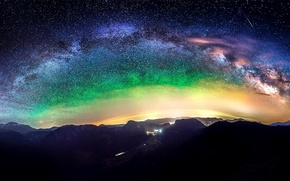 Picture mountain, lights, light, lights, night, stars