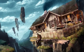 Picture machine, house, rocks, man, art, backpack, flying, rod
