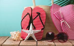 Wallpaper hat, glasses, accessories, vacation, stay, sun, beach, beach, sand, vacation, summer, starfish, summer, slates