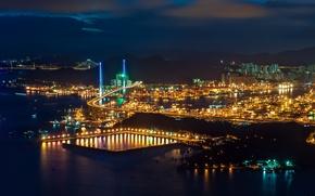 Picture night, lights, Hong Kong, China, harbour, Hong Kong