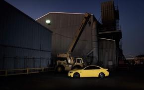 Picture yellow, building, bmw, BMW, coupe, crane, arrow, e92, Dakar Yellow