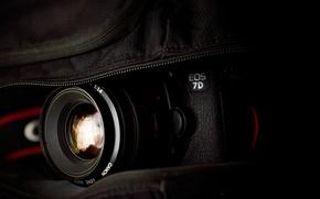 Picture The camera, bag, Lens, macro, 2560x1600, canon eos 7d, Photocamera, bag, lens