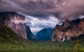 Picture forest, the sky, trees, mountains, clouds, rocks, waterfall, USA, Yosemite National Park, Sierra Nevada
