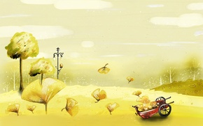 Picture autumn, yellow, car