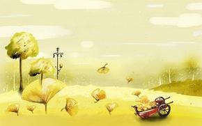 Wallpaper autumn, yellow, car