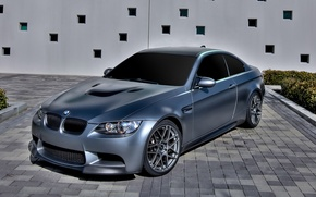 Picture the building, bmw, BMW, silver, silver, drives, flowerbed, e92, tinted, daylight
