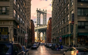 Picture bridge, street, Manhattan Bridge, Brooklyn Park
