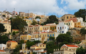 Picture yellow, Greece, houses, town, bright, a lot, fabulous, Simi