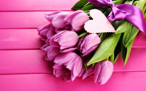 Picture flowers, heart, tape, tulips, pink, bow, heart, ribbon, lilac, postcard, purple