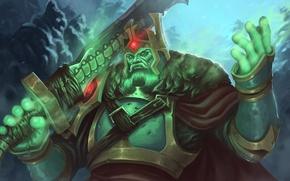 Picture sword, crown, art, green, king, Dota 2, Ostarion, Wraith King, ArtDeepMind