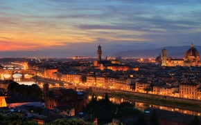 Picture sunset, bridge, the city, view, home, the evening, Italy, Florence, attraction, Santa Maria del Fiore