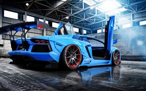 Picture Lamborghini, Blue, Sun, Aventador, Supercar, LP720-4, Rear, Liberty, Doors, Walk, Beam, LB Perfomance