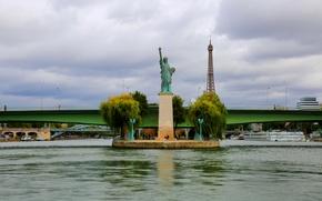 Picture bridge, river, France, Paris, Hay, Eiffel tower, the statue of Liberty
