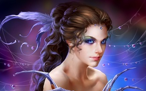Picture girl, drops, decoration, Rosa, magic, hair, web, feathers, fantasy, art, girl, fantasy, hairstyle, magic, sorceress, …
