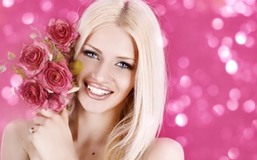 Picture girl, flowers, smile, glare, background, portrait, roses, makeup, hairstyle, blonde, beauty