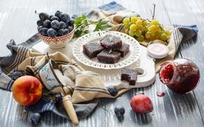 Picture berries, grapes, sugar, fruit, still life, plum, peach, marmalade, nectarine, Julia Khusainova